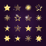 Twinkle and light golden star icons. Astral stars vector set. Twinkle and light golden star icons Royalty Free Stock Photo