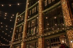 Twinkle lights on a building during the Toronto Christmas Market royalty free stock photos