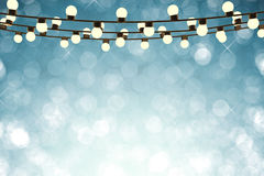 Twinkle lights on empty blue background. 3d rendering twinkle lights on empty blue background Royalty Free Stock Images