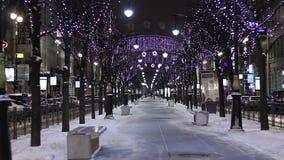 Twinkle lights at night, St. Petersburg stock footage