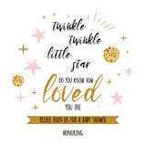 Twinkle twinkle little star text with golden oranment and pink star for girl baby shower card template. Twinkle twinkle little star text with cute gold, pink Royalty Free Stock Photos