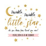 Twinkle twinkle little star text with gold star and moon for girl boy baby shower card invitation vector illustration