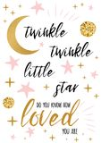 Twinkle twinkle little star text with gold ornament and pink star for girl baby shower card design template vector illustration