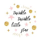 Twinkle twinkle little star text with gold polka dot and pink star for girl baby shower card template. Twinkle twinkle little star text with cute gold, pink Stock Photos
