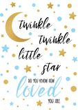 Twinkle twinkle little star text with golden oranment and blue star for boy baby shower banner template vector illustration