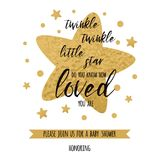 Twinkle twinkle little star text with golden oranment and gold star for girl boy baby shower card template. Twinkle twinkle little star text with cute gold Royalty Free Stock Images