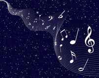 Twinkle stars with music notes Stock Photography