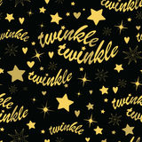 Twinkle stars seamless pattern. Seamless pattern with gold stars and twinkle twinkle lettering. Hand drawn Lullaby Baby shower design Stock Images
