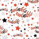 Twinkle stars seamless pattern. Holiday background with stars and twinkle twinkle lettering. Hand drawn Lullaby Baby shower design Stock Image