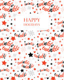 Twinkle stars seamless pattern. Holiday background with stars and twinkle twinkle lettering. Hand drawn Lullaby Baby shower design. Seamless pattern is masked Royalty Free Stock Images