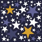 Twinkle Twinkle Little Star Background. Background with Blue, Yellow, White Stars in different sizes Stock Images