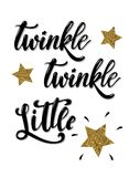 Twinkle twinkle little star hand lettered phrase decorated by golden textured stars royalty free illustration