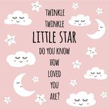Little star greeting card for baby shower nursery poster Smiling face Text quote vector royalty free illustration