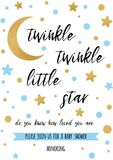 Twinkle twinkle little star text with golden oranment and blue star for boy baby shower card template. Twinkle twinkle little star text with cute gold, blue Royalty Free Stock Image