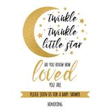 Twinkle twinkle little star text loved with gold star and moon for girl boy baby shower invitation template vector illustration