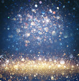 Twinkled Christmas Background - Glitter Gold And Blue With Sparkling. Of Stars Royalty Free Stock Photography