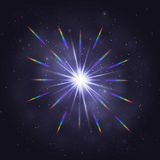 Twinkling cosmic star rainbow glare Stock Photos
