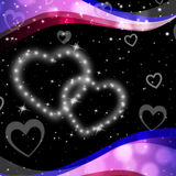 Twinkling Hearts Background Means Night Sky And Love Royalty Free Stock Image