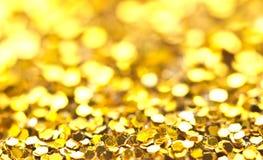 Twinkling lights bokeh light golden Christmas background Stock Photo