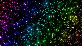 Twinkling metallic confetti glitter stripes in rainbow colours - in front of a black background. Sparkling colourful glitter on a black background Royalty Free Stock Image