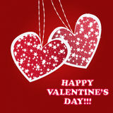 Twinkling and sparkling valentines hearts. Greeting card on red background Stock Photos