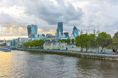 Twinlight cityscape of City of London and Thames River, England Royalty Free Stock Photos