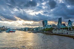 Twinlight cityscape of City of London and Thames River, England Royalty Free Stock Photo