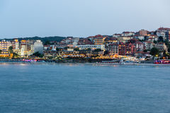 Twinlight panorama of beach and new part of Sozopol, Bulgaria Stock Image