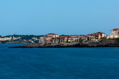 Twinlight view of beach and new part of Sozopol, Bulgaria Royalty Free Stock Photography