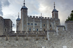 Twinlight view of Historic Tower of London, England Royalty Free Stock Photos