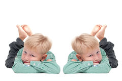 Twins. Two Boy Twins (mirrored image Royalty Free Stock Image