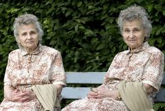 Twins. Portrait of the elderly women outdoors Royalty Free Stock Image