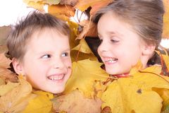 Twins And Autumn Stock Image