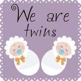 We are twins. Announcement of the birth of twins Royalty Free Stock Images