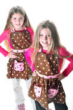 Twins in aprons stock photo