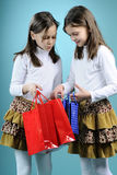 Twins arguing after shopping Royalty Free Stock Image