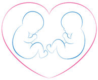 Twins Babies Heart. Outline illustration of two babies or twins with a pink heart around them. Isolated vector on white background royalty free illustration