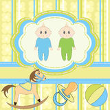 Twins Baby Invitation Stock Images