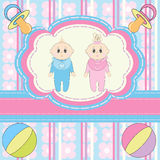 Twins Baby Invitation Royalty Free Stock Image