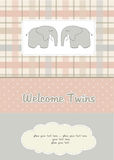 Twins baby shower card with two elephants Royalty Free Stock Images