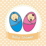 Twins baby shower vector illustration