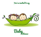 Twins baby shower. Invitation card. girl and boy in a pea shell Stock Photos