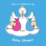 Twins baby shower Stock Image