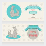 Twins. Baby shower vector invitation, template. Illustration of twins bunnies Royalty Free Stock Image