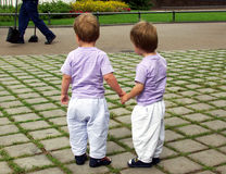 Twins from behind (B). Twins hand in hand Royalty Free Stock Image