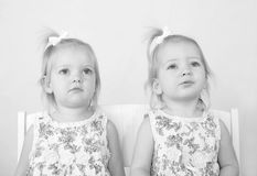 Twins in Black and White. Sitting in Chairs Royalty Free Stock Images