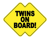 Twins on board. Yellow and black sticker for car Stock Images