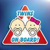 Twins on board sticker Stock Photo