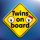 Twins on board sticker Stock Images