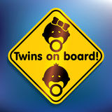 Twins on board sticker Royalty Free Stock Photography
